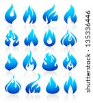 fire flames blue  set icons ... | Shutterstock .eps vector #135336446