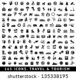 165 icons. travel symbols and... | Shutterstock .eps vector #135338195
