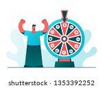 man standing near the wheel of...   Shutterstock .eps vector #1353392252