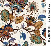 colorful paisley pattern for... | Shutterstock . vector #1353411602