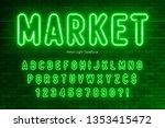 neon light alphabet  extra... | Shutterstock .eps vector #1353415472