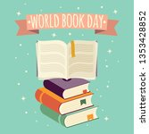 world book day  open book with... | Shutterstock .eps vector #1353428852