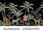 hand drawn tropical vintage... | Shutterstock .eps vector #1353429392