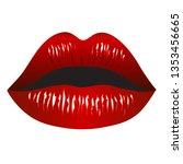 passionate red lips isolated on ... | Shutterstock .eps vector #1353456665