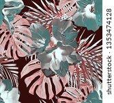 exotic plants watercolor... | Shutterstock . vector #1353474128