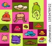 hats shop market store vector... | Shutterstock .eps vector #1353478922