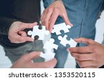 close up. pieces of the puzzle... | Shutterstock . vector #1353520115