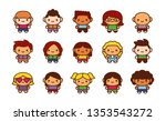 vector set of cute characters... | Shutterstock .eps vector #1353543272
