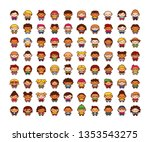 vector set of cute characters... | Shutterstock .eps vector #1353543275