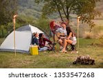 sunset in camp in nature with... | Shutterstock . vector #1353547268