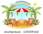 illustration of a seashore with ... | Shutterstock . vector #135359102