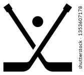 hockey sticks puck vector icon | Shutterstock .eps vector #1353607178