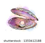 opened shell with pearl inside... | Shutterstock .eps vector #1353612188