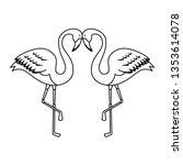 elegant flamingos birds couple | Shutterstock .eps vector #1353614078