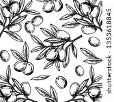 black and white olive drawing.... | Shutterstock .eps vector #1353618845