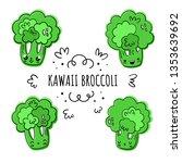 broccoli  vector set in kawaii... | Shutterstock .eps vector #1353639692
