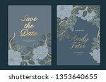 navy wedding invitation  floral ... | Shutterstock .eps vector #1353640655