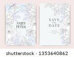 blue wedding invitation  floral ... | Shutterstock .eps vector #1353640862