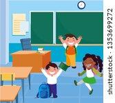 happy little interracial school ... | Shutterstock .eps vector #1353699272