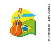 flag of brazil with guitar... | Shutterstock .eps vector #1353700898