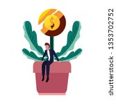 businessman sitting on plant... | Shutterstock .eps vector #1353702752