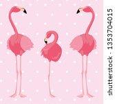 elegant flamingo birds family... | Shutterstock .eps vector #1353704015