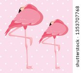 elegant flamingo birds couple... | Shutterstock .eps vector #1353707768