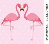 elegant flamingo birds couple... | Shutterstock .eps vector #1353707885