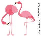 elegant flamingo birds couple | Shutterstock .eps vector #1353709868