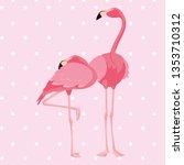 elegant flamingo birds couple... | Shutterstock .eps vector #1353710312
