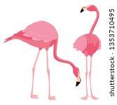 elegant flamingo birds couple | Shutterstock .eps vector #1353710495