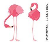 elegant flamingo birds couple | Shutterstock .eps vector #1353711002