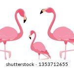 elegant flamingo birds family | Shutterstock .eps vector #1353712655