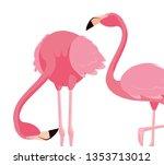 elegant flamingo birds couple | Shutterstock .eps vector #1353713012