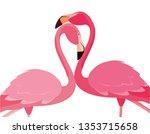 elegant flamingo birds couple | Shutterstock .eps vector #1353715658