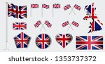 set of united kingdom flag clip ... | Shutterstock .eps vector #1353737372