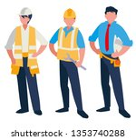 group of men builders working | Shutterstock .eps vector #1353740288