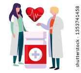 couple doctors with heart... | Shutterstock .eps vector #1353741458