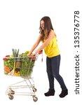 beautiful young woman shopping... | Shutterstock . vector #135376778
