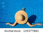 woman in hat relaxing at the... | Shutterstock . vector #135377882
