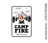 camp logo with campfire. stay... | Shutterstock .eps vector #1353790568