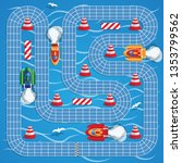 race on boats. game board.... | Shutterstock .eps vector #1353799562