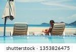 beautiful young woman relaxes... | Shutterstock . vector #1353826475