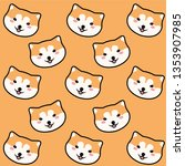 shiba inu cartoon pattern on... | Shutterstock .eps vector #1353907985