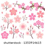 cherry blossom illustration... | Shutterstock .eps vector #1353914615