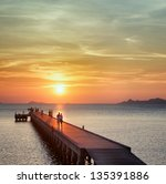 Boat Pier At Sunset. Beautiful...