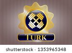 golden emblem with dumbbell... | Shutterstock .eps vector #1353965348
