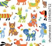 seamless pattern with cute dogs.... | Shutterstock .eps vector #1354036712