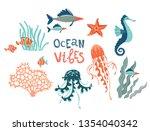 Marine Wildlife Hand Drawn Fla...