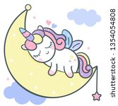 Stock vector cute unicorn vector moon cartoon with magic sleeping time for sweet dream kawaii style cute 1354054808